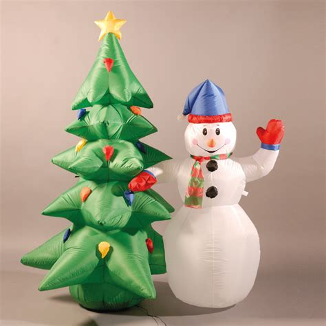 inflatable 180cm 6ft snowman and christmas tree 163 54 14