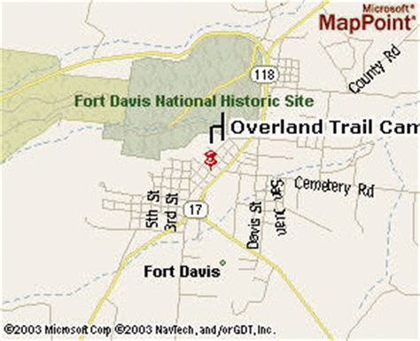 fort davis texas map welcome to the overland trail cground