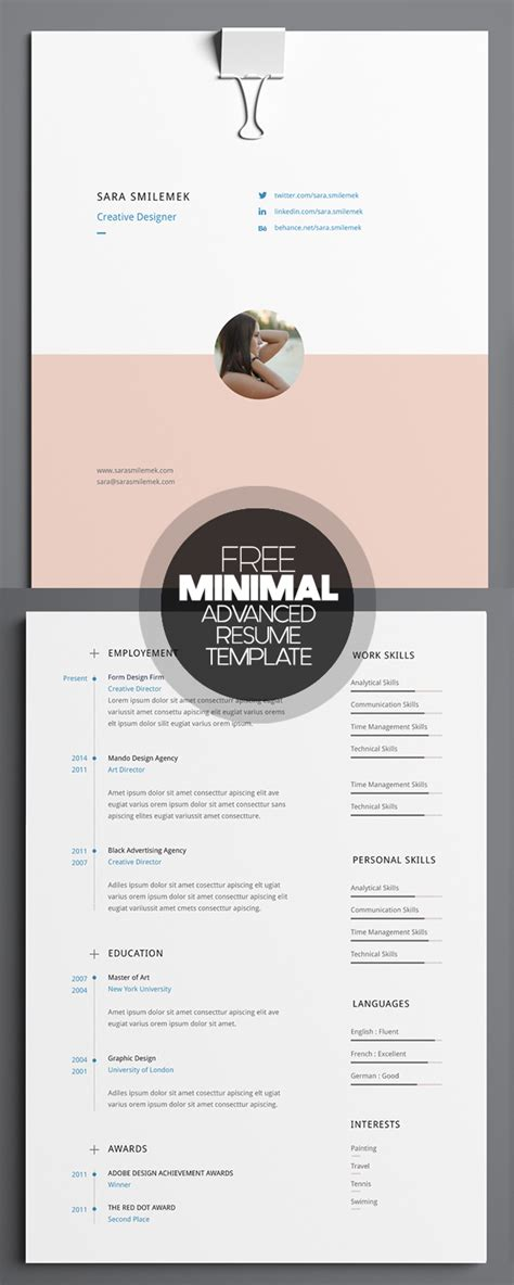17 free clean modern cv resume templates psd