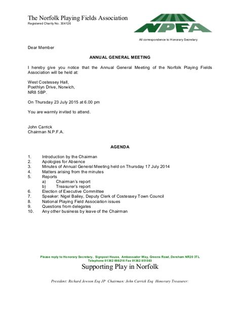Invitation Letter For General Meeting Agm Letter And Agenda 23 July 2015 6 00 Pm