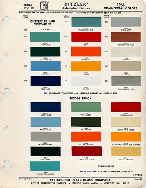 color chip color chip selection 1964 light green 43244 truck builds