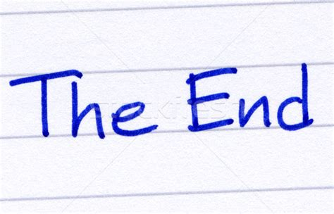The end written with blue ink on white paper stock photo 169 stephen