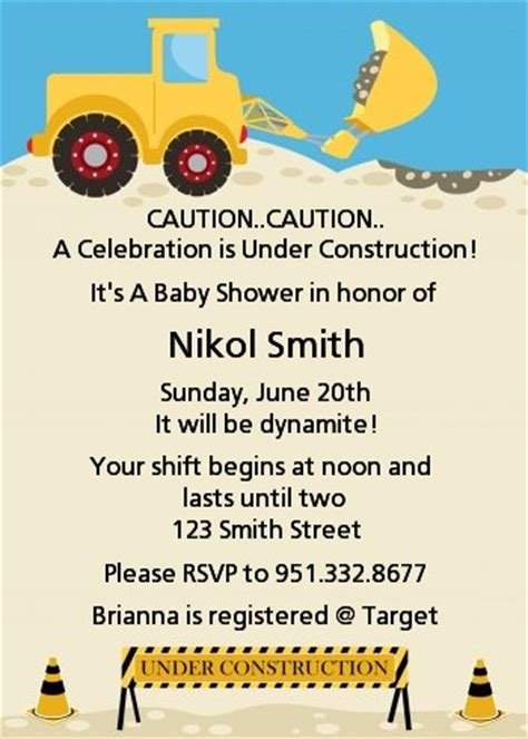 construction truck baby shower invitations candles  favors