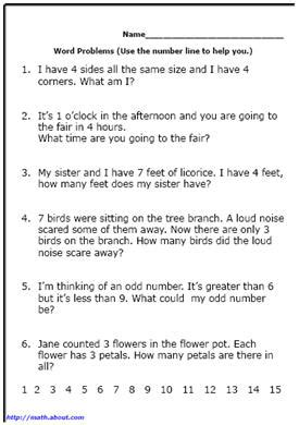 1st Grade Math Worksheets Word Problems by Search Results For Math Word Problems For 1st Grade