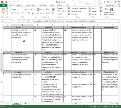 project logframe template exporting your logical framework to a new ms excel