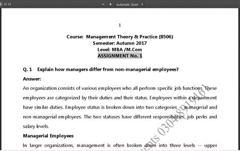 Mba Theory by Mba M Solved Asg 8506 Aiou Solved Assignments