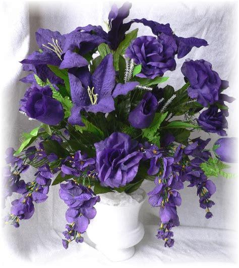 Purple Silk Floral Arrangement Wedding Centerpiece Ebay Purple Flower Arrangements Centerpieces