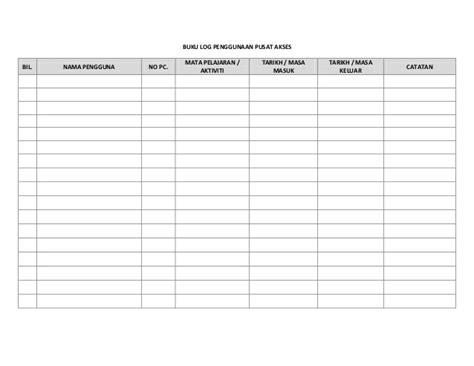 format buku log lencana kemahiran buku log penggunaan makmal komputer