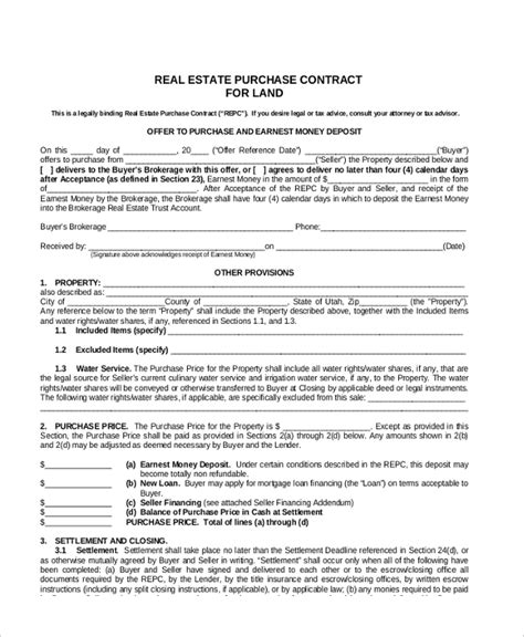 Sle Land Contract Form 8 Free Documents In Pdf Doc Land Purchase Agreement Template
