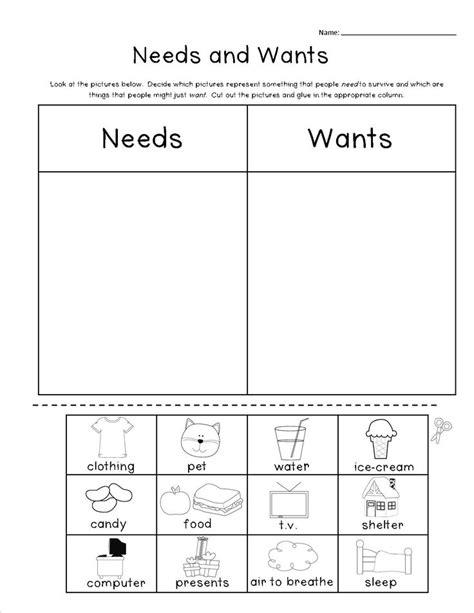 Kindergarten Activities Needs And Wants   pin by angela shepard on social studies pinterest