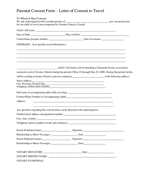 parental consent form template travel best photos of consent letter sle