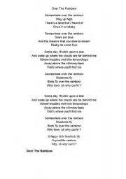 Worksheets somewhere over the rainbow lyrics amp fill in the gap