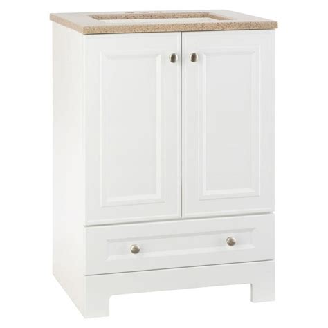 Style Selections Bathroom Vanity Shop Style Selections Emberlin White Integral Single Sink Bathroom Vanity With Solid Surface Top