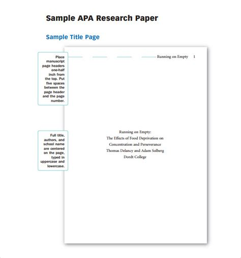 apa template free research paper outline apa template