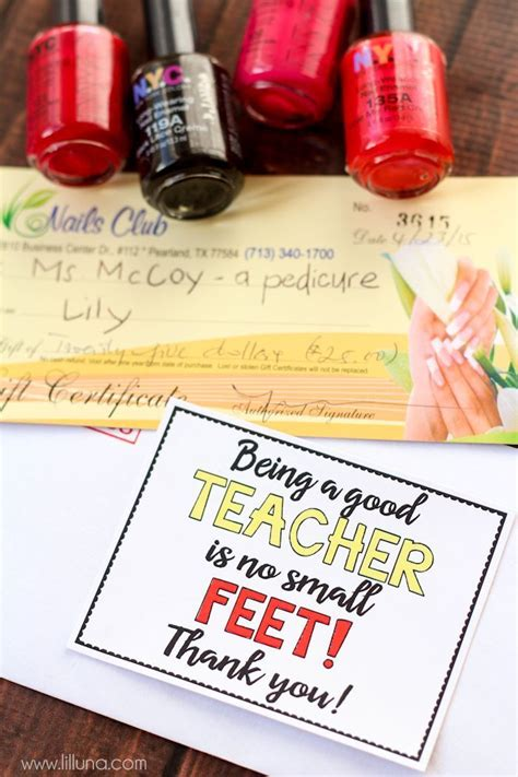 Pedicure Gift Card - 211 best images about teacher gift ideas on pinterest teaching gift card holders