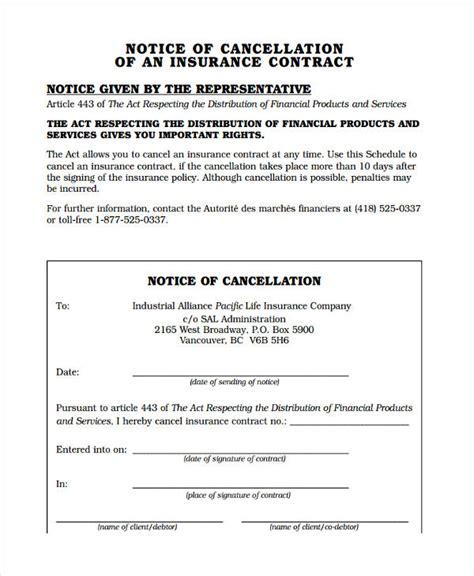 cancellation letter insurance contract 8 cancellation notice exles sles