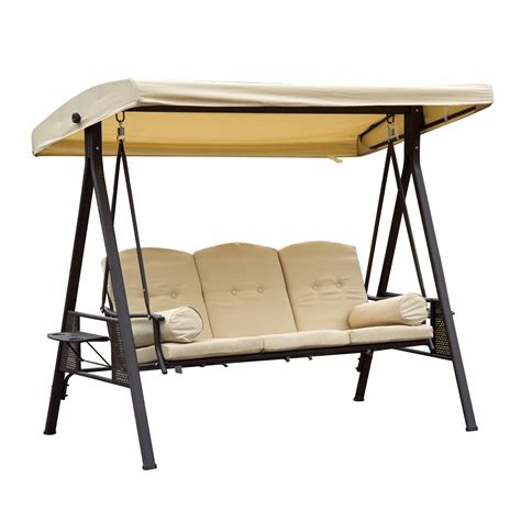 swing chair outsunny 3 seater swing chair steel beige