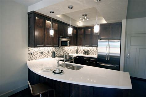 Urban Townhome Kitchen With Espresso Cabinets And White White And Espresso Kitchen Cabinets