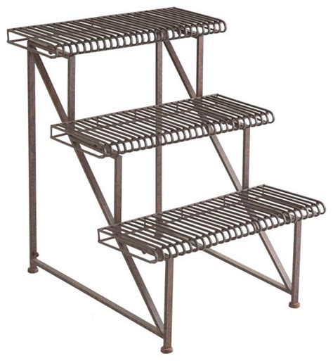 Metal Plant Rack by Three Tier Iron Plant Rack Traditional Patio Furniture