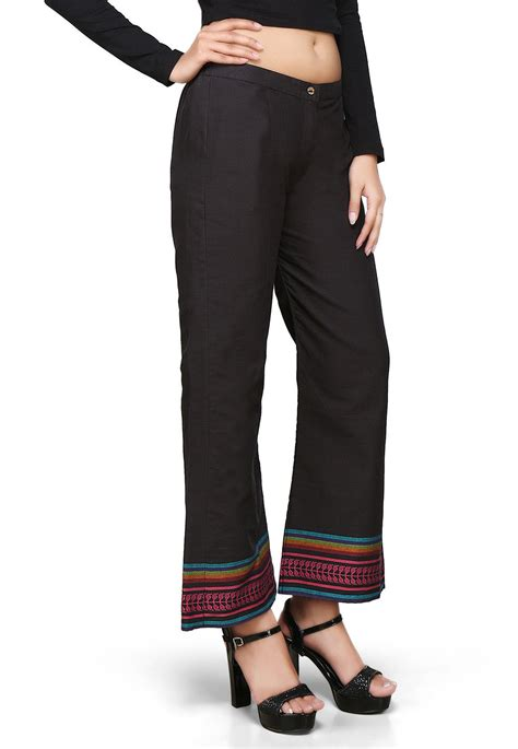 Woven Black by Woven Cotton Pant In Black Thu806
