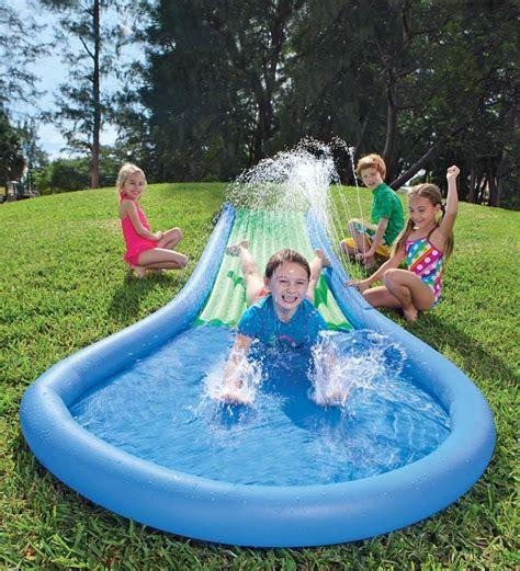 backyard water slides for kids hearthsong inflatable water slide for kids water pool toys