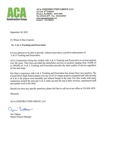 Recommendation Letter Without Reservation the of marion county demolition contractors