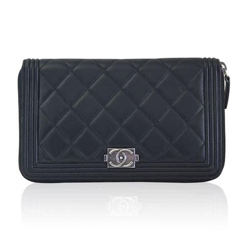 Handbag Wallet Black chanel boy wallet black lambskin large zip around no 16