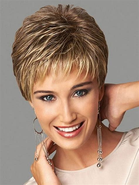 short puffy uneven hairdos synthetic highlights blonde short female haircut puffy