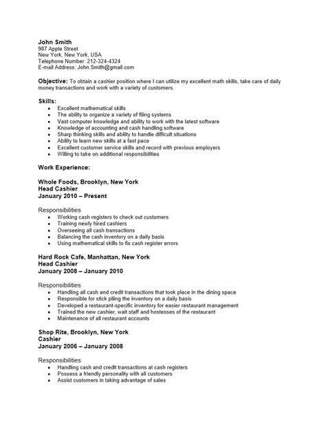 cashier position resume