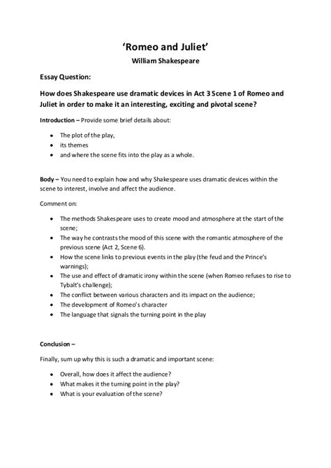 Romeo Juliet Act 3 1 Essay Plan by Act 3 1 Essay