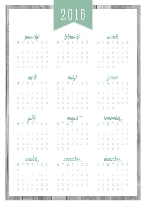 free printable 2016 year at a glance calendar hello free printable classic 2017 calendars covers eliza ellis