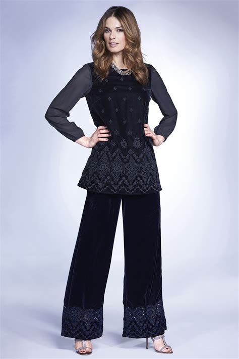 Wide Leg Embroidered signature wide leg embroidered velour trousers