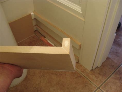how to install baseboard trim in bathroom half bathroom renovation installing the baseboard fascia