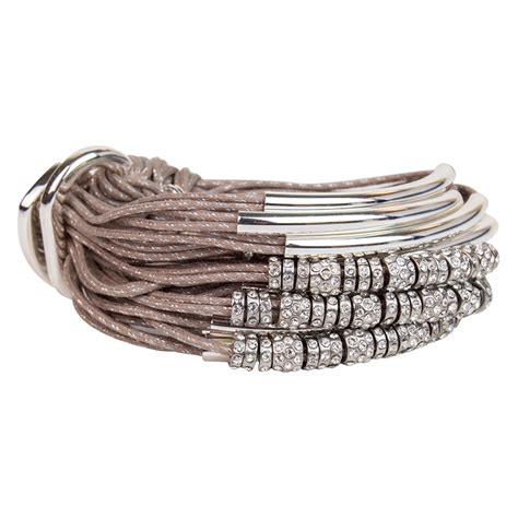 Taupe Silver Tubes Diamond Rondels Metallic Cord Bracelet by Gillian Julius