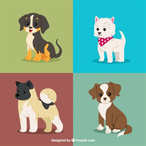 lovely pack  puppies vector