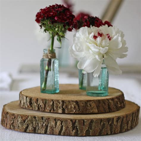 Wooden Tree Slice Wedding Centrepiece Or Cake Stand By The Wood Centerpieces For Tables