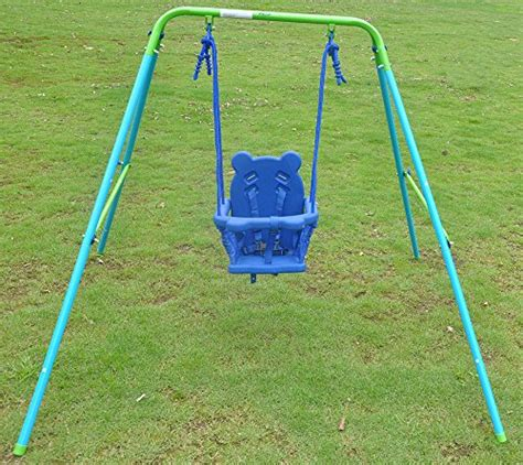 folding nursery swing hlc folding toddler blue secure swing with safety seat for