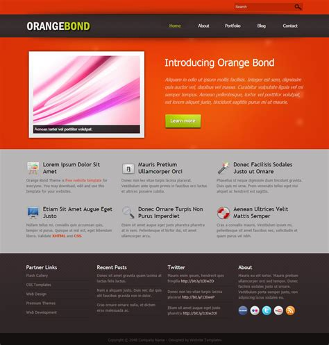 html themes templates orange bond free html css templates