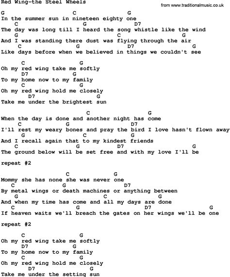 testo wheels country wing the steel wheels lyrics and chords