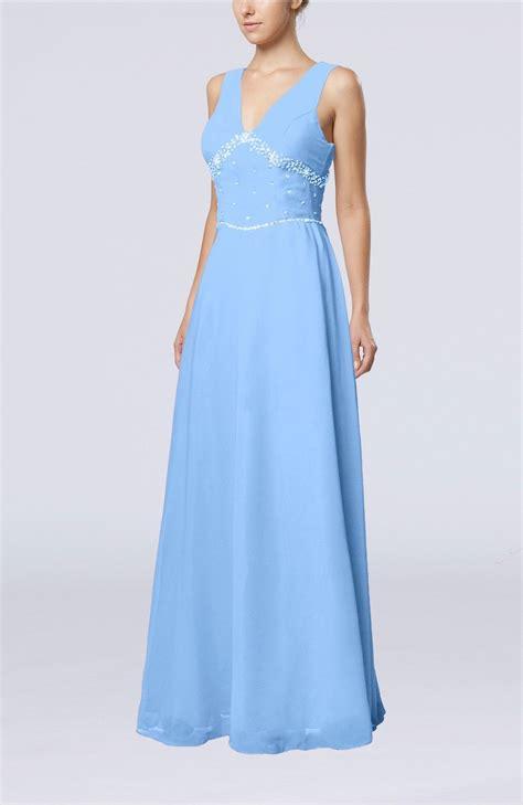 light blue floor length dress light blue bridesmaid dress elegant column sleeveless
