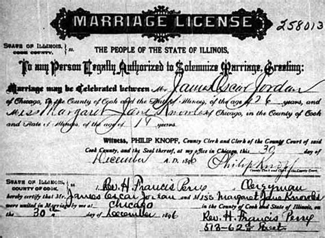 Marriage License Records Illinois Margaret Knowles Genealogy Source Records