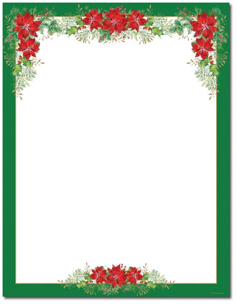 free printable christmas paper templates poinsettia valance letterhead holiday papers pinterest