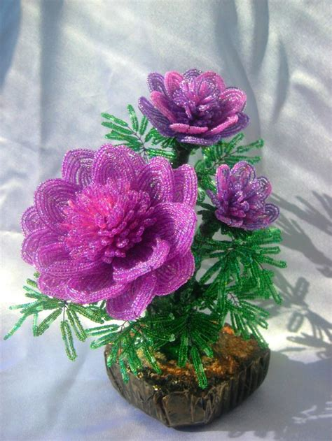 beadwork flowers древовидный пион цветок из бисера beaded flowers