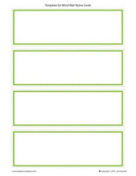 Word Wall Cards Template Blank by 1000 Ideas About Preschool Cubbies On