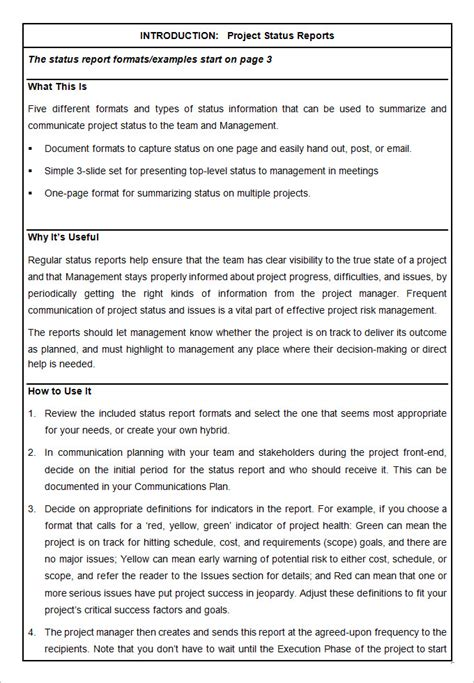 word project report template sle project status report template 10 free word pdf