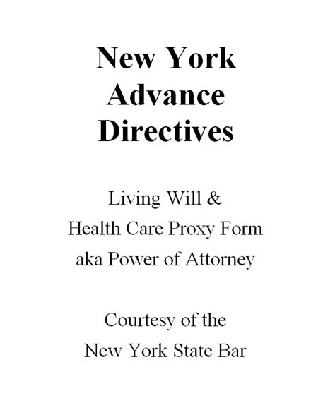 Smashwords New York Advance Directives Living Will Health Care Proxy Form Aka Power Of New York State Living Will Template