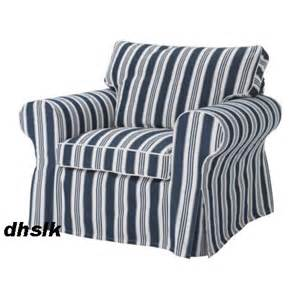 Blue And White Striped Armchair New Ikea Ektorp Armchair Slipcover Cover Toftaholm Blue