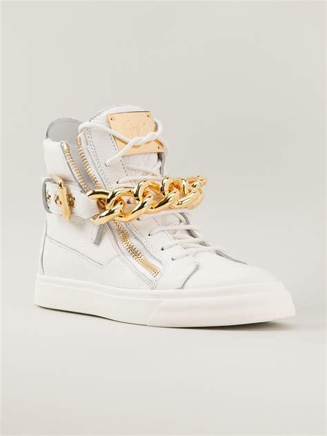 giuseppe zanotti white gold chain sneakers giuseppe zanotti gold chain sneakers in white lyst
