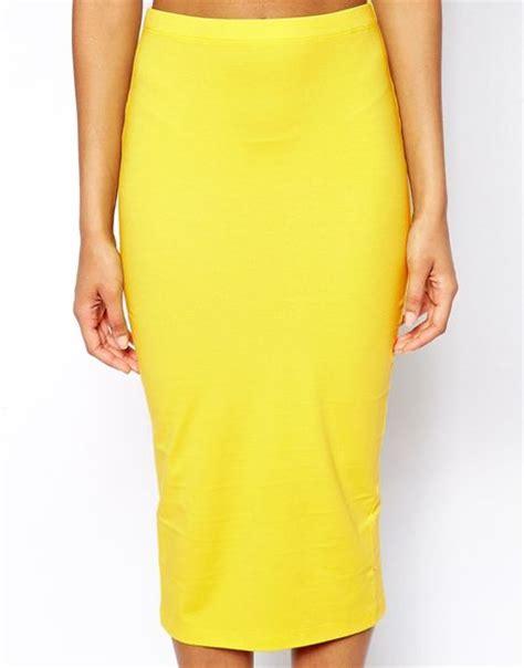 asos midi pencil skirt in jersey in yellow lyst