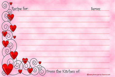 6 best images of cute printable recipe cards strawberry hearts recipe cards free printable 4 x 6 inch recipe cards